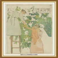 19世纪著名美国印象派女画家玛丽卡萨特Mary Cassatt绘画作品集油画作品高清图片 (64)