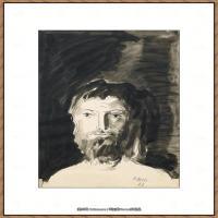 西班牙画家巴勃罗毕加索Pablo Picasso现代派素描毕加索手稿高清图片毕加索素描作品 (62)