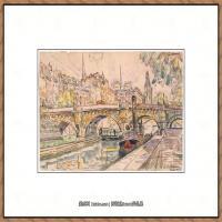保罗西涅克Paul Signac法国新印象派点彩派大师西涅克绘画作品集Tugboat at the Pont Neuf,