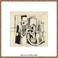 西班牙画家巴勃罗毕加索Pablo Picasso现代派素描毕加索手稿高清图片毕加索素描作品 (86)