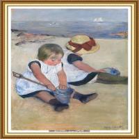 19世纪著名美国印象派女画家玛丽卡萨特Mary Cassatt绘画作品集油画作品高清图片 (73)