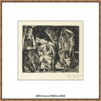 西班牙画家巴勃罗毕加索Pablo Picasso现代派素描毕加索手稿高清图片毕加索素描作品 (81)