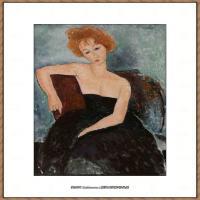 阿梅代奥莫迪利亚尼Amedeo Modigliani意大利著名画家绘画作品集油画作品高清图片Redheaded Girl