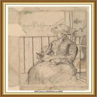 19世纪著名美国印象派女画家玛丽卡萨特Mary Cassatt绘画作品集油画作品高清图片 (84)