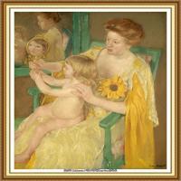 19世纪著名美国印象派女画家玛丽卡萨特Mary Cassatt绘画作品集油画作品高清图片 (89)