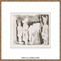 西班牙画家巴勃罗毕加索Pablo Picasso现代派素描毕加索手稿高清图片毕加索素描作品 (134)
