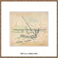 保罗西涅克Paul Signac法国新印象派点彩派大师西涅克绘画作品集Le Pont des Arts (French,