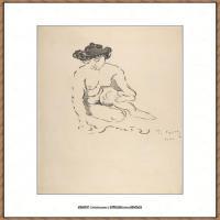 保罗西涅克Paul Signac法国新印象派点彩派大师西涅克绘画作品集Seated Nude Woman (French