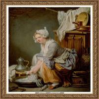 法国洛可可风格画家让巴蒂斯特格勒兹Jean Baptiste Greuze古典人物油画作品图片-The Laundres
