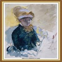 19世纪著名美国印象派女画家玛丽卡萨特Mary Cassatt绘画作品集油画作品高清图片 (99)