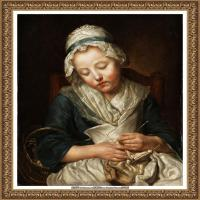 法国洛可可风格画家让巴蒂斯特格勒兹Jean Baptiste Greuze古典人物油画作品图片-Tricoteuse e