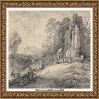 英国画家托马斯庚斯博罗Thomas Gainsborough肖像画风景画素描速写作品高清图片 (35)