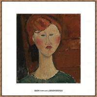 阿梅代奥莫迪利亚尼Amedeo Modigliani意大利著名画家绘画作品集油画作品高清图片FEMME AUX CHEV