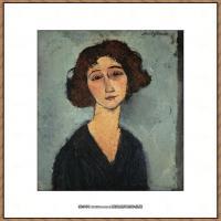 阿梅代奥莫迪利亚尼Amedeo Modigliani意大利著名画家绘画作品集油画作品高清图片JEUNE FEMME
