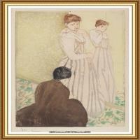 19世纪著名美国印象派女画家玛丽卡萨特Mary Cassatt绘画作品集油画作品高清图片 (60)
