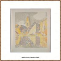 保罗西涅克Paul Signac法国新印象派点彩派大师西涅克绘画作品集The Port, SaintTropez (Fr