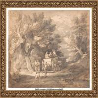 英国画家托马斯庚斯博罗Thomas Gainsborough肖像画风景画素描速写作品高清图片 (24)