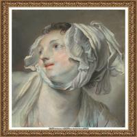 法国洛可可风格画家让巴蒂斯特格勒兹Jean Baptiste Greuze古典人物油画作品图片-THE HEAD OF