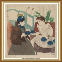 19世纪著名美国印象派女画家玛丽卡萨特Mary Cassatt绘画作品集油画作品高清图片 (77)