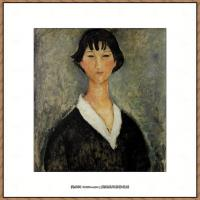 阿梅代奥莫迪利亚尼Amedeo Modigliani意大利著名画家绘画作品集油画作品高清图片Jeune fille au