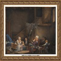 法国洛可可风格画家让巴蒂斯特格勒兹Jean Baptiste Greuze古典人物油画作品图片-The Nursemai