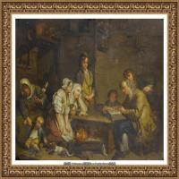 法国洛可可风格画家让巴蒂斯特格勒兹Jean Baptiste Greuze古典人物油画作品图片-The father o
