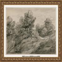 英国画家托马斯庚斯博罗Thomas Gainsborough肖像画风景画素描速写作品高清图片 (6)