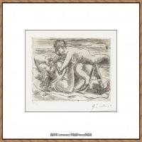 西班牙画家巴勃罗毕加索Pablo Picasso现代派素描毕加索手稿高清图片毕加索素描作品 (99)