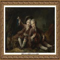 法国洛可可风格画家让巴蒂斯特格勒兹Jean Baptiste Greuze古典人物油画作品图片-THE CHILDREN