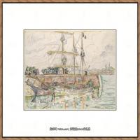 保罗西涅克Paul Signac法国新印象派点彩派大师西涅克绘画作品集Docks at Saint Malo (Fren