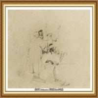 十九世纪英国画家约翰埃弗里特米莱斯John Everett Millais拉斐尔前派画家素描速写 (8)