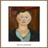 阿梅代奥莫迪利亚尼Amedeo Modigliani意大利著名画家绘画作品集油画作品高清图片Femmeboucle