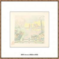 保罗西涅克Paul Signac法国新印象派点彩派大师西涅克绘画作品集 Boats at Flushing (Batea