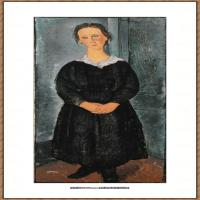阿梅代奥莫迪利亚尼Amedeo Modigliani意大利著名画家绘画作品集油画作品高清图片La Jeune bonne