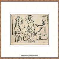 西班牙画家巴勃罗毕加索Pablo Picasso现代派素描毕加索手稿高清图片毕加索素描作品 (119)