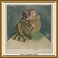 19世纪著名美国印象派女画家玛丽卡萨特Mary Cassatt绘画作品集油画作品高清图片 (76)