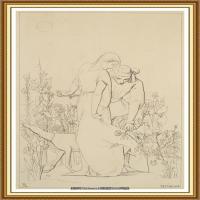 十九世纪英国画家约翰埃弗里特米莱斯John Everett Millais拉斐尔前派画家素描速写 (14)