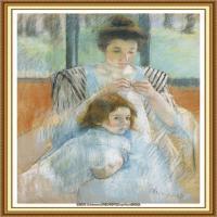 19世纪著名美国印象派女画家玛丽卡萨特Mary Cassatt绘画作品集油画作品高清图片 (50)