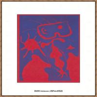 二十世纪绘画大师西班牙超现实主义画家米罗Joan Miro绘画作品高清图片抽象画作品集-Femme en colère