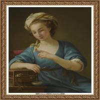 法国洛可可风格画家让巴蒂斯特格勒兹Jean Baptiste Greuze古典人物油画作品图片-YOUNG WOMAN