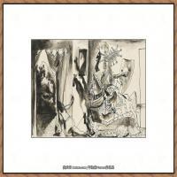 西班牙画家巴勃罗毕加索Pablo Picasso现代派素描毕加索手稿高清图片毕加索素描作品 (139)