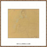 贝尔特莫里索Berthe Morisot法国印象派女画家绘画作品集素描手绘手稿底稿高清图片 (16)