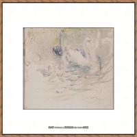 贝尔特莫里索Berthe Morisot法国印象派女画家绘画作品集素描手绘手稿底稿高清图片 (8)