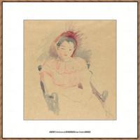 贝尔特莫里索Berthe Morisot法国印象派女画家绘画作品集素描手绘手稿底稿高清图片 (29)