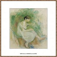 贝尔特莫里索Berthe Morisot法国印象派女画家绘画作品高清图片莫里索油画作品高清图片 (11)