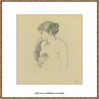 贝尔特莫里索Berthe Morisot法国印象派女画家绘画作品集素描手绘手稿底稿高清图片 (15)