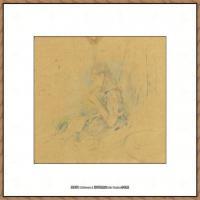 贝尔特莫里索Berthe Morisot法国印象派女画家绘画作品集素描手绘手稿底稿高清图片 (25)