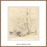 贝尔特莫里索Berthe Morisot法国印象派女画家绘画作品集素描手绘手稿底稿高清图片 (28)