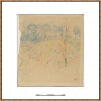 贝尔特莫里索Berthe Morisot法国印象派女画家绘画作品集素描手绘手稿底稿高清图片 (27)