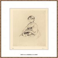 贝尔特莫里索Berthe Morisot法国印象派女画家绘画作品集素描手绘手稿底稿高清图片 (30)